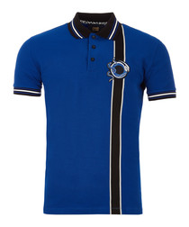 Blue pure cotton strip polo