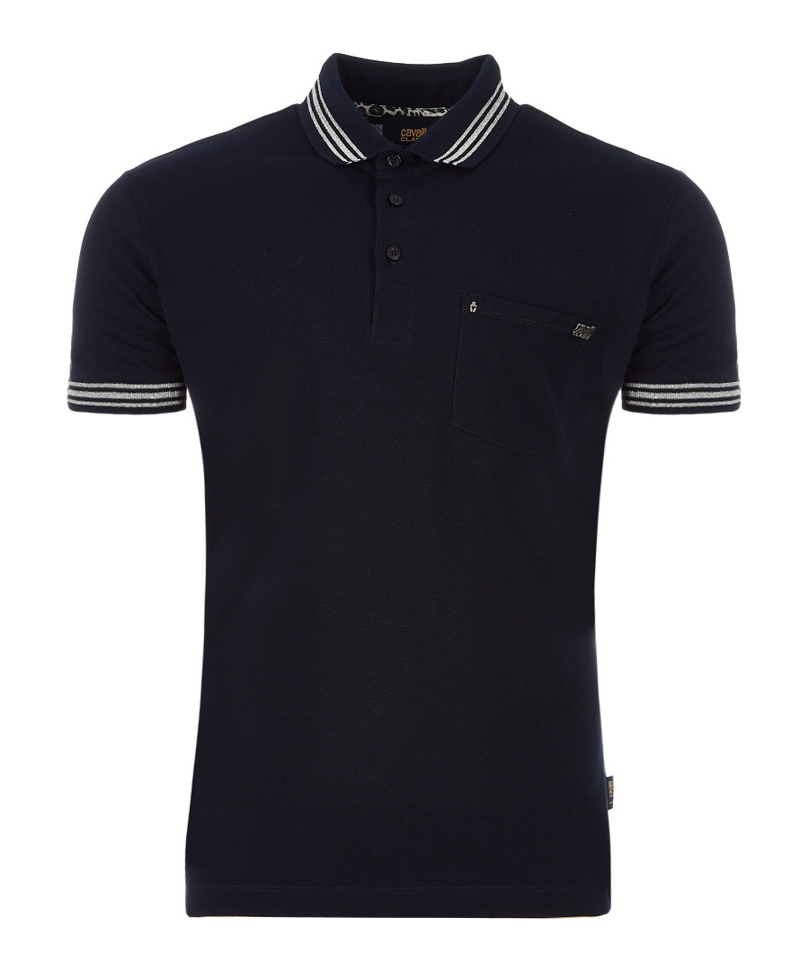 Black pure cotton stripe polo Sale - Cavalli Class