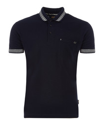Black pure cotton stripe polo