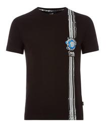 black pure cotton strip T-shirt
