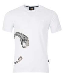 white cotton stretch arc snake T-shirt