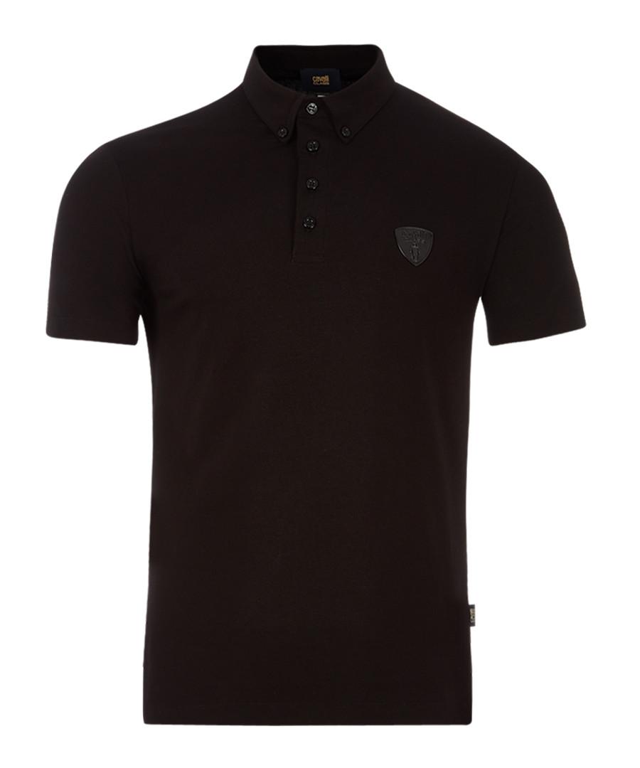 Black cotton stretch crest polo Sale - Cavalli Class