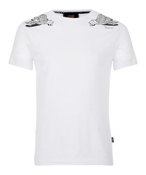 white cotton stretch wing T-shirt