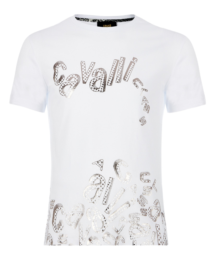white cotton stretch collapse T-shirt Sale - Cavalli Class