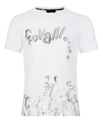 white cotton stretch collapse T-shirt
