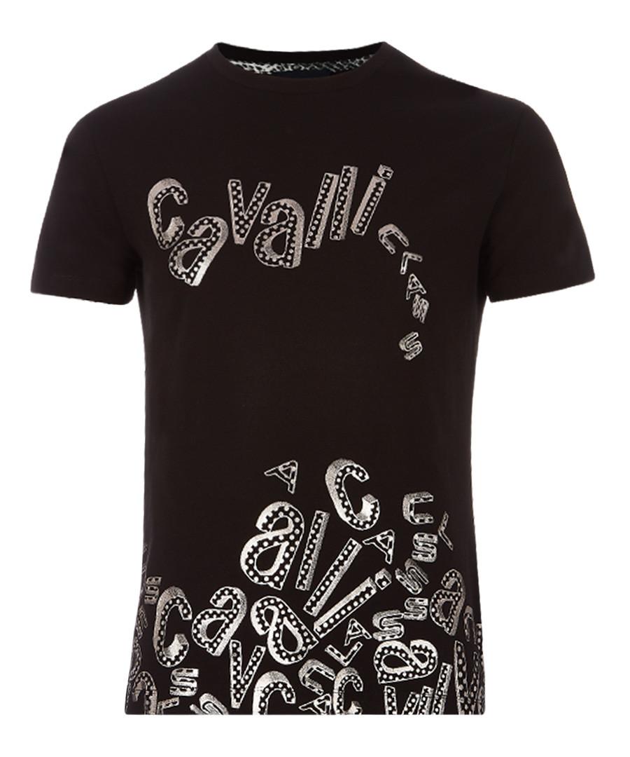 black cotton stretch collapse T-shirt Sale - Cavalli Class