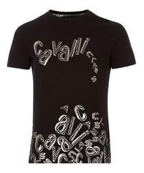 black cotton stretch collapse T-shirt