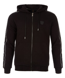 black pure cotton zip hoodie