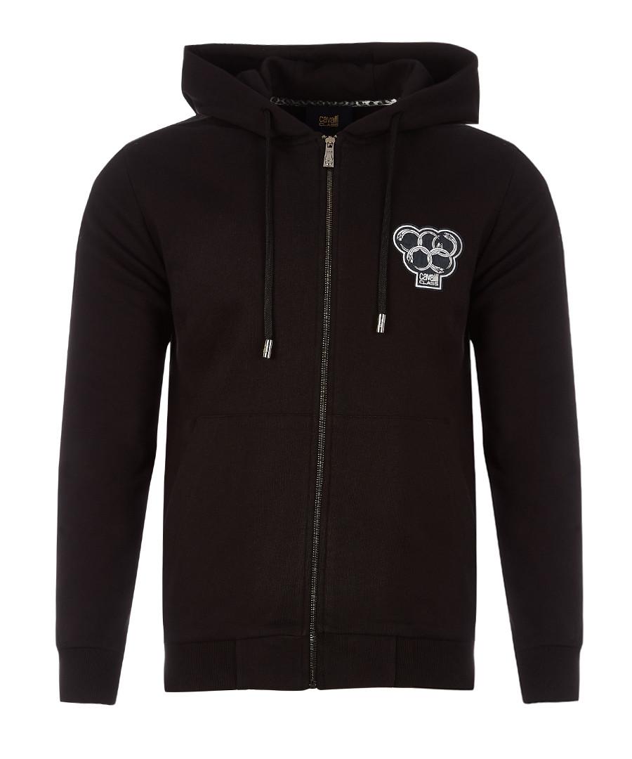 black pure cotton zip hoodie Sale - Cavalli Class