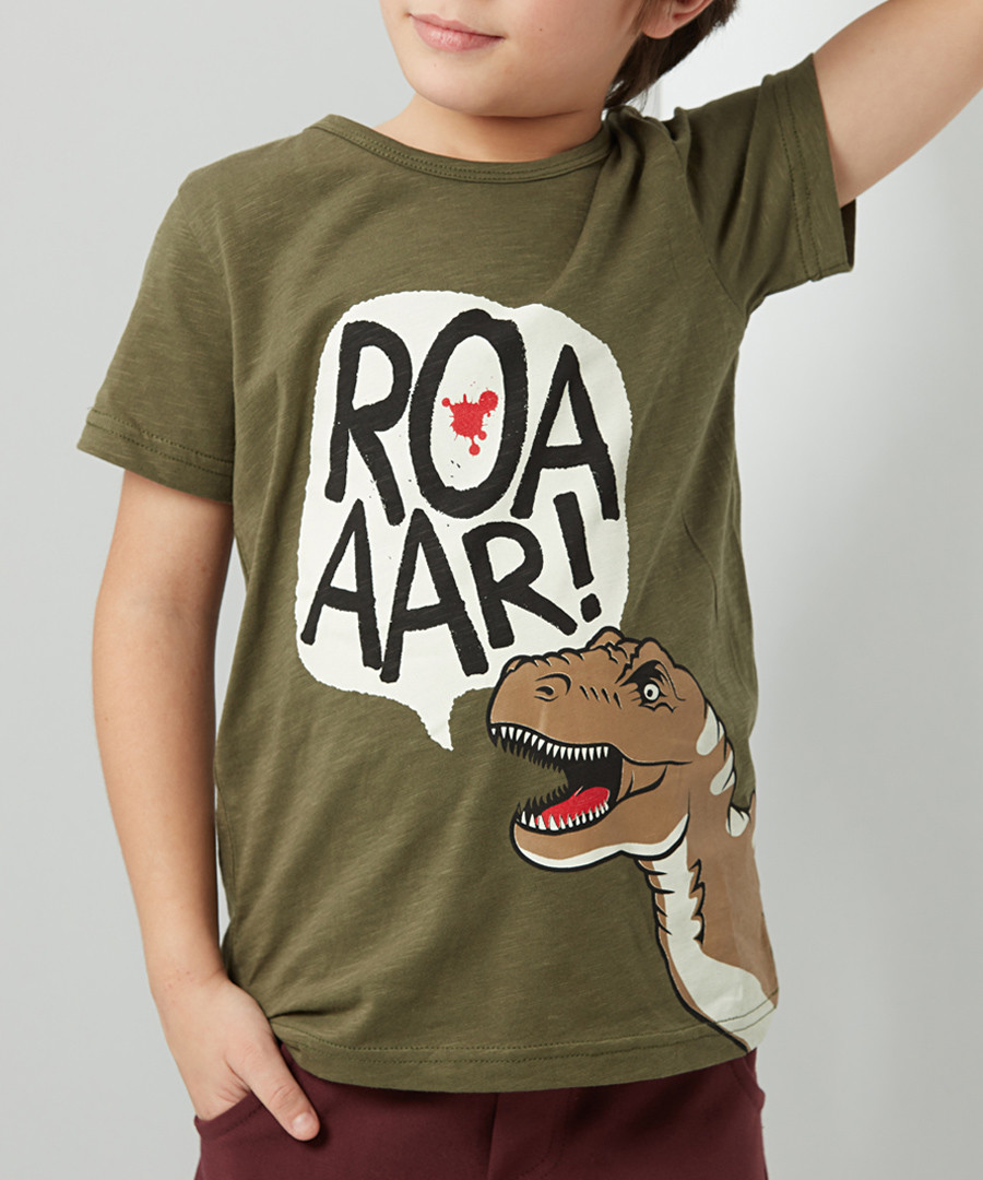 T-Rex olive cotton blend T-shirt Sale - denokids