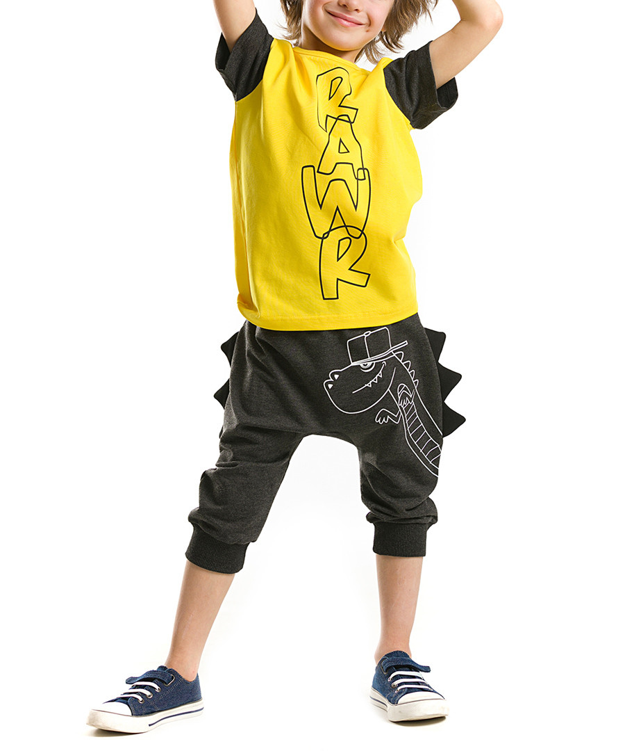 3D Dino cotton blend baggy outfit Sale - denokids