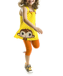 Yellow Monkey cotton tunic set