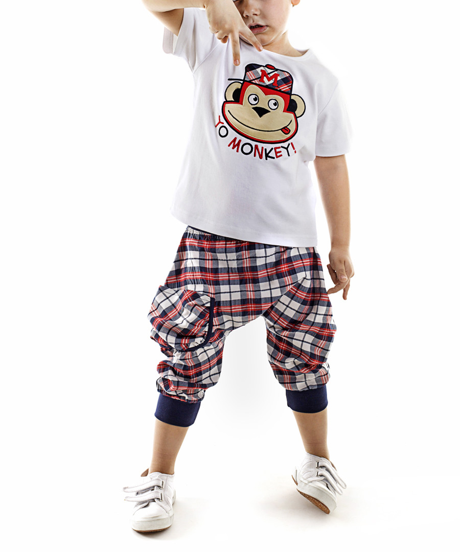 Checked Hiphop shorts & shirt set Sale - Denokids