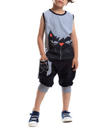 Angry Cat Hip-Hop shorts & shirt set