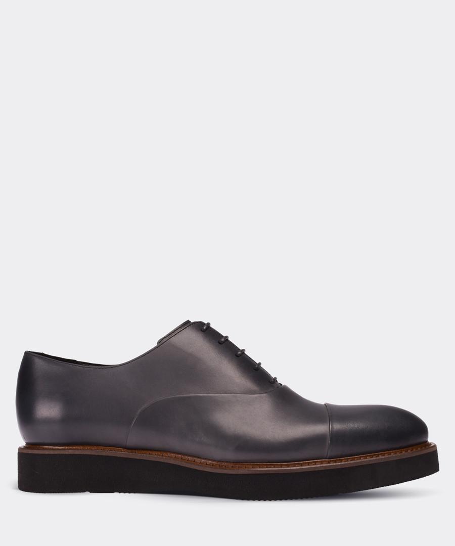 Grey leather platform Oxford shoes Sale - deery man