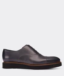 Grey leather platform Oxford shoes