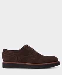 Brown suede platform Oxford shoes