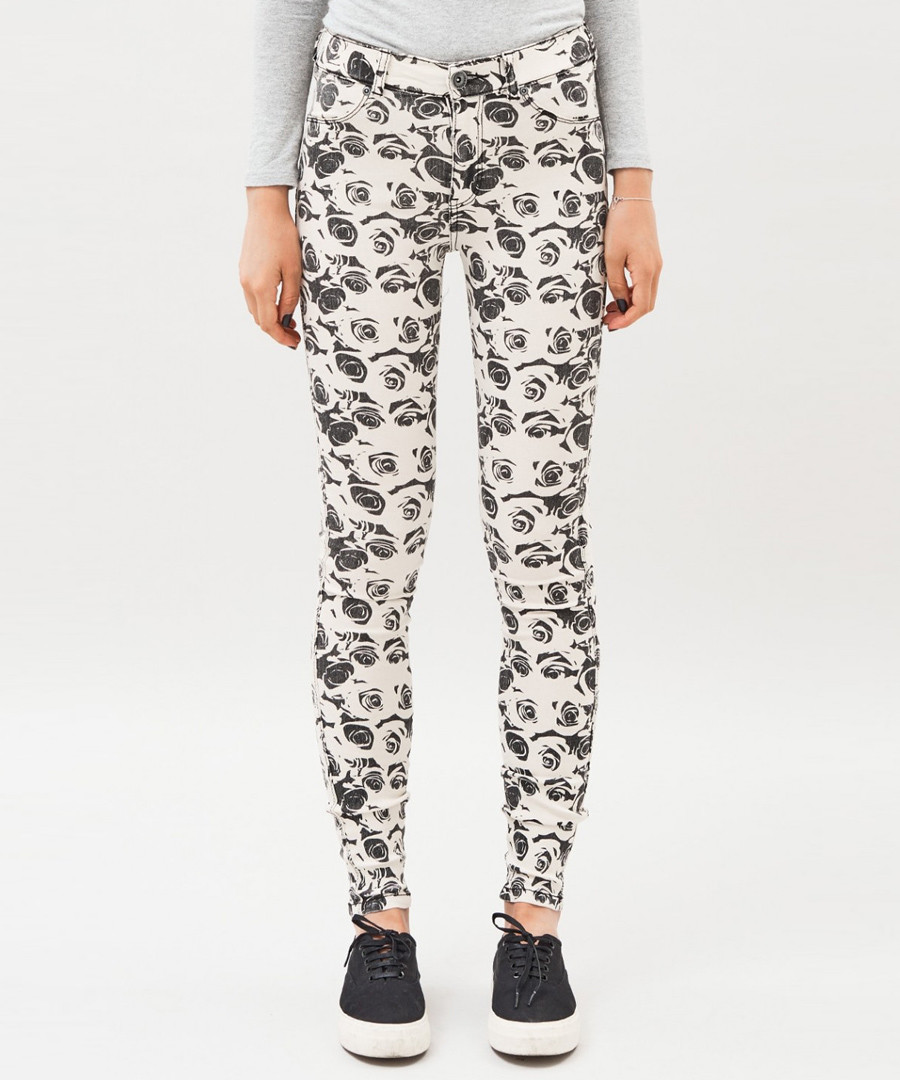 Black cotton rose print jeans Sale - dr denim