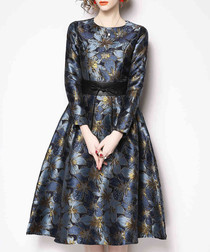 Pewter floral A-line dress