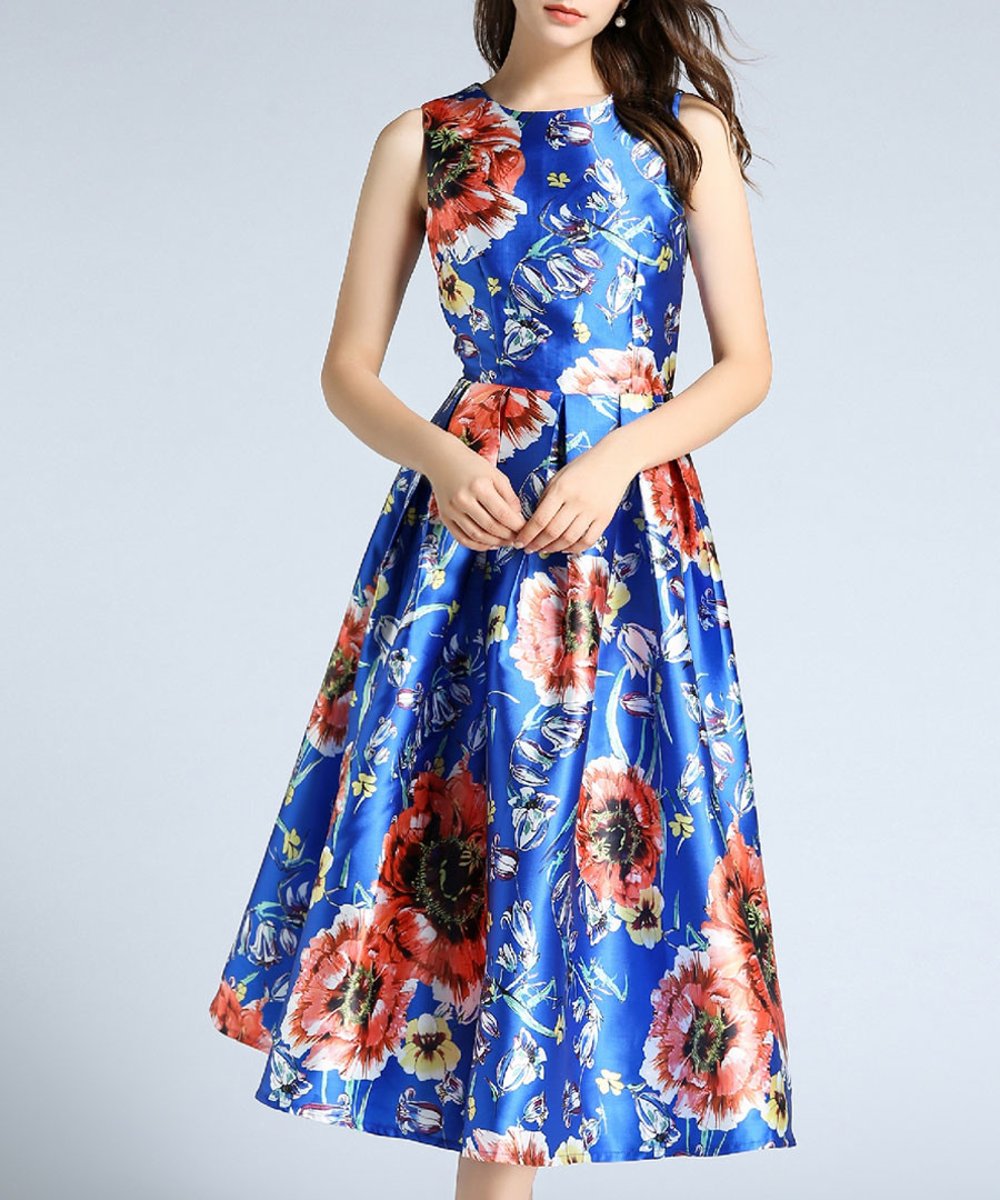Blue & floral A-line dress Sale - Kaimilan