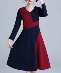 Navy & wine long sleeve dress