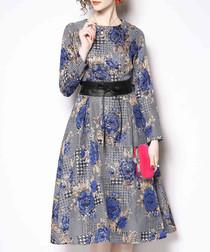 Blue floral belt dress