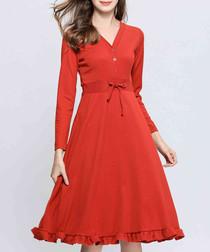 Red ochre ruffle hem dress