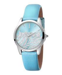 Steel & sky blue leather watch