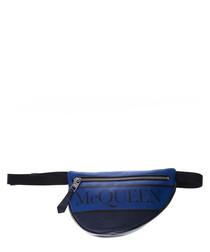 Navy leather logo belt bag