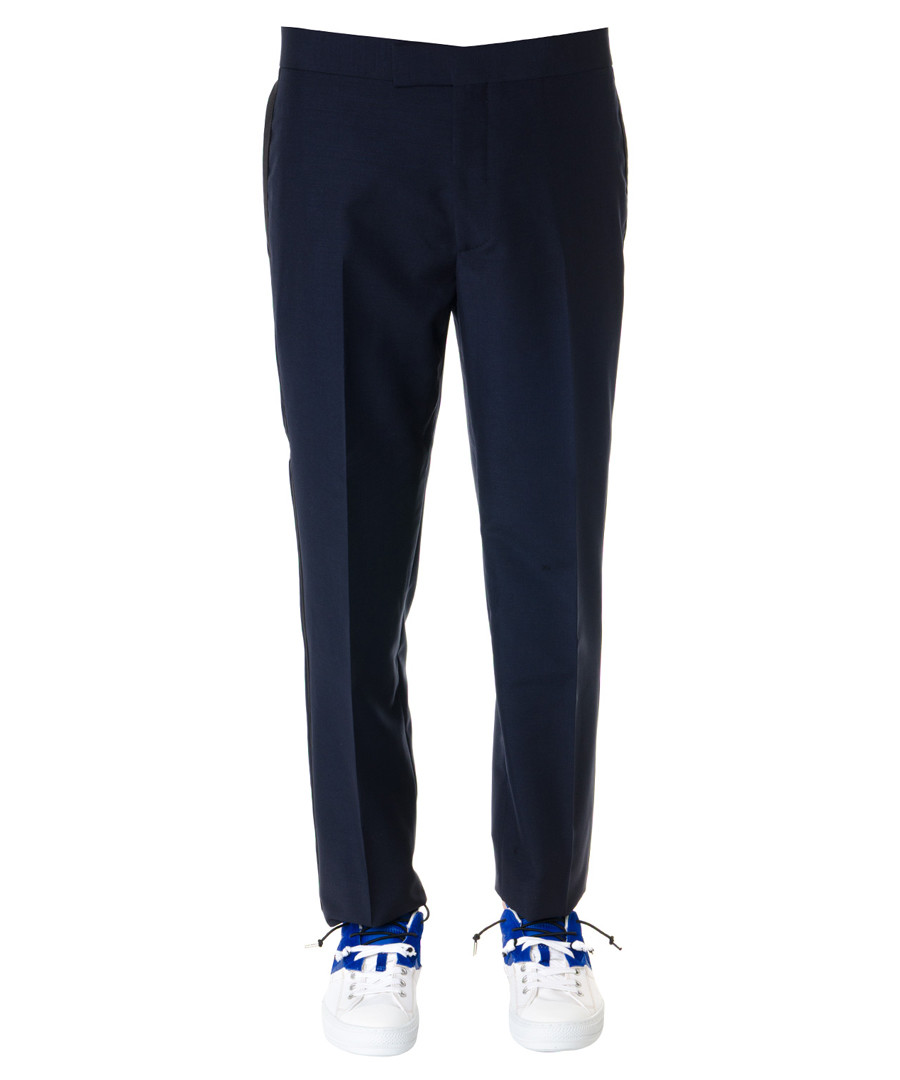 Navy wool & mohair trousers Sale - alexander mcqueen