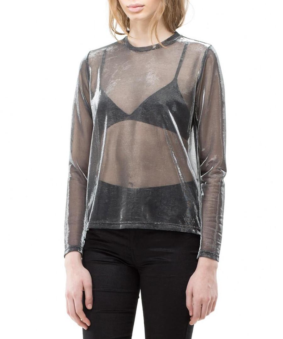 Silver sheer long sleeve top Sale - dr denim