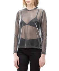 Silver sheer long sleeve top
