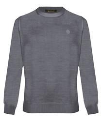 Grey melange wool blend sweatshirt