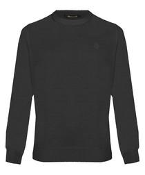 Black wool blend sweatshirt