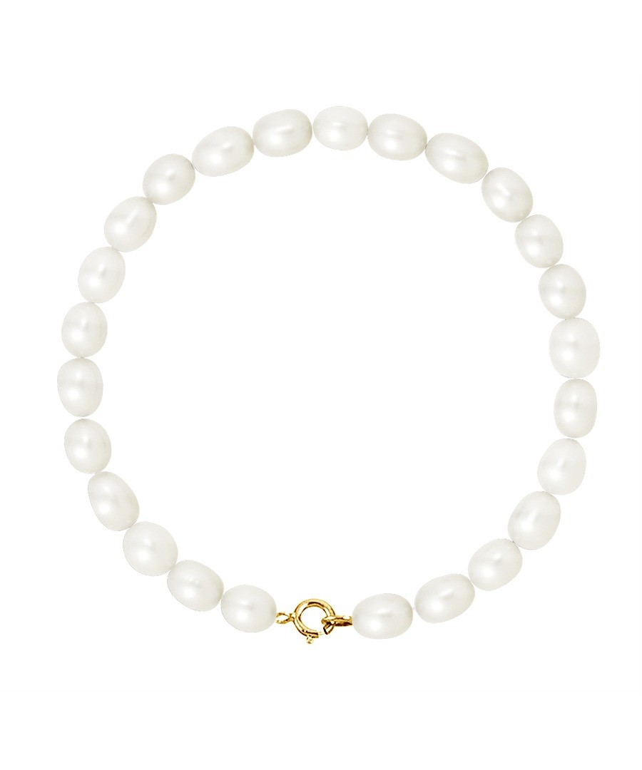 Diadema   Bracelet   Real Freshwater Pearls   White   Yellow Gold by Diadema