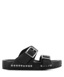 Black leather stud buckle sandals
