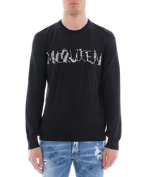 Black pure wool clutter logo jumper