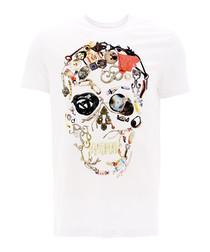 Stylised Skull white pure cotton T-shirt