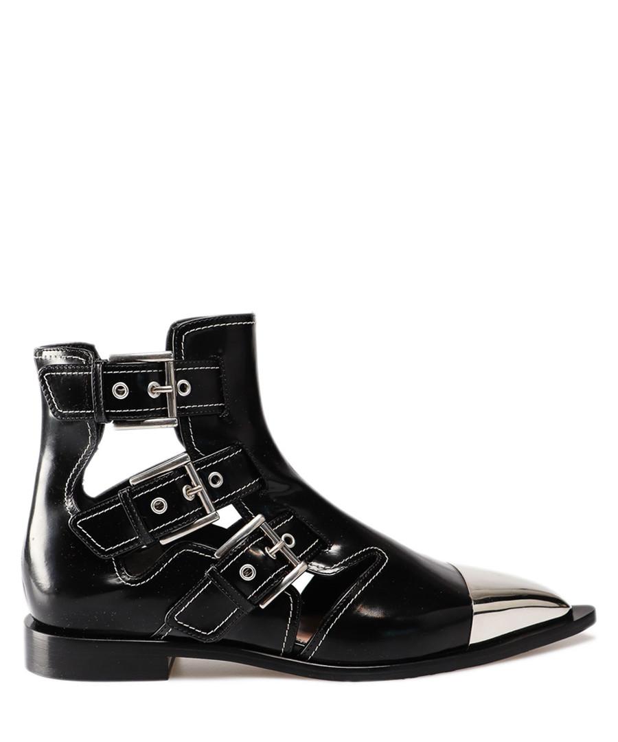 Black leather cut-out biker boots Sale - alexander mcqueen
