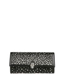 Black leather embellished clutch