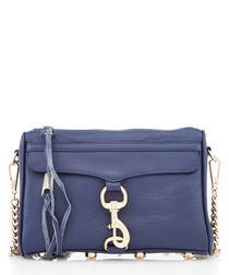 Mini Mac navy leather crossbody