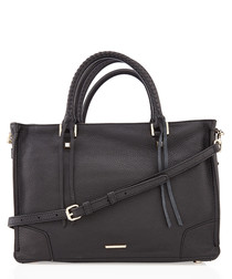 Regan black leather satchel tote