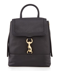 Bree black leather convertible backpack
