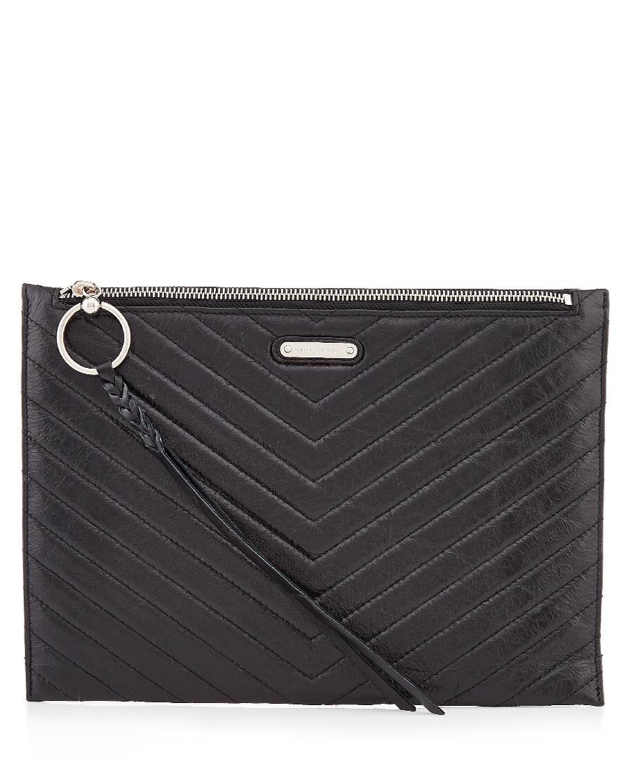 Black leather chevron zip clutch Sale - Rebecca Minkoff