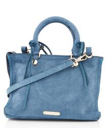 Micro Regan blue leather tote bag
