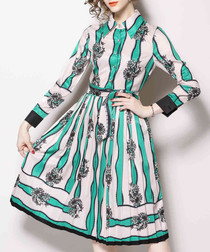Turquoise & pale pink collar dress