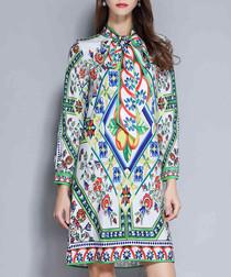 Spring brocade long sleeve dress