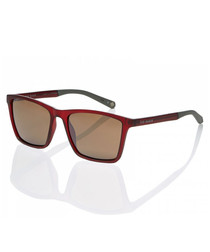 Deep red squared sunglasses