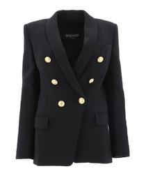 Black cotton blend oversize blazer