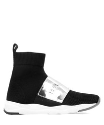 Cameron black mirror sock sneakers